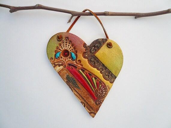 Decorative Wall Hanging Hearts : Wall hanging heart handmade decor ceramic