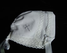 Magic Hanky Bonnet Heirloom CROSS bonnet This WHITE bonnet is made with a handkerchief trimmed with COUNTRY Manor lace Cross on corner