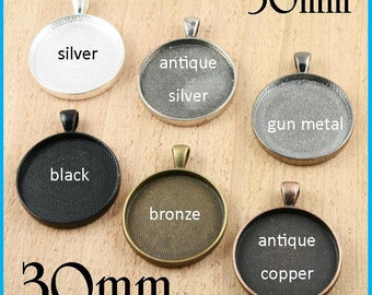 100 SETS Pendant Trays AND Glass, 30mm - Silver, Antique Copper, Bronze,  Black. Bezels  for Keyrings. Optional Photo Seals 100 or 200