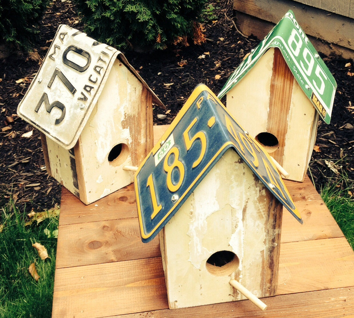 License Plate Birdhouse Built From Reclaimed Wood And By
