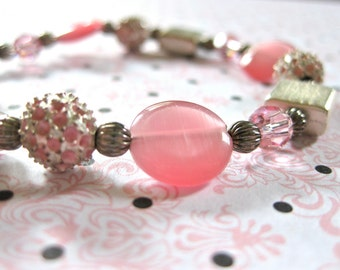 Pink Bracelet Beaded Pink and Silver Faux with toggle clasp Jewellery Fashion Multi Jewelry