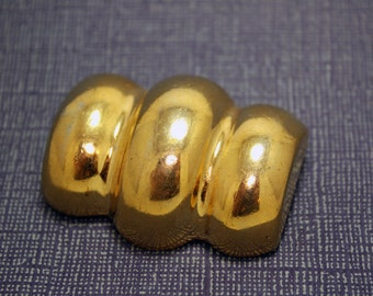 Vintage Cloisonne Brooch Large Barrel Shaped Gold Tone