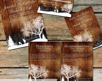 Winter Deer Wedding Invitation, Country Winter Snow, Rustic Wedding Invitation, Printable wedding stationery with wood and trees, DIY invite