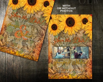 Printable Rustic Sunflower Camouflage Wedding Save the Date Rustic Country Invites DIY save the Date Announcement Camo Wedding Printable