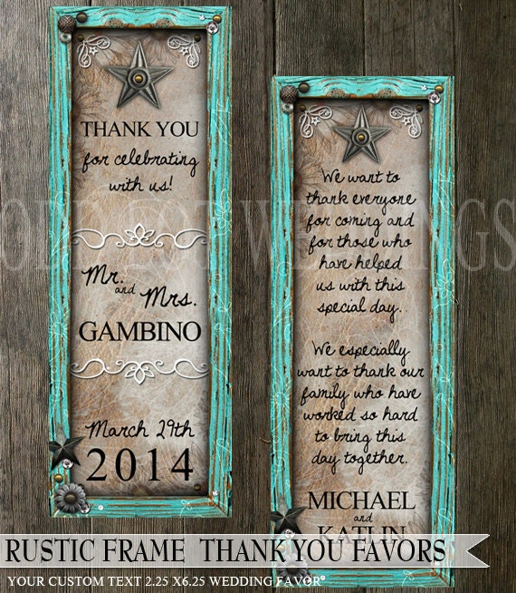 Rustic Turquoise Frame Wedding Thank You Favor, Save the date ...