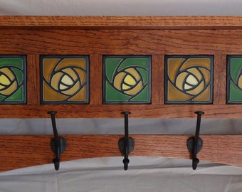 Handmade Mission style coat rack with Art tile