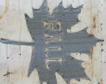 FREE SHIPPING Vintage Style Corrugated Fall Leaf Metal Sign