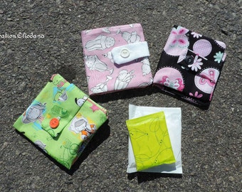 pads pouch for feminine pads carry on handbag or school bag  2 fabrics you can choose