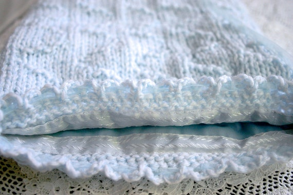 Knit Bridal Bag- Something Blue- Hand Knitted- Wedding Accessory Pouch- Fabric Lined- 8x8.5 Inches