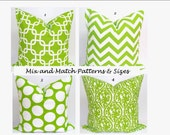 GREEN Pillows, Green Pillow Cover, Decorative Pillow, Green Throw Pillow, Green Pillow, Chartreuse Pillow, All Sizes, Cushion, Chevron, Dots