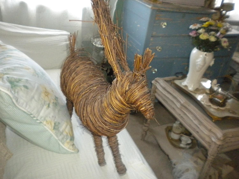 Large Twig Reindeer Holiday Decor Woodland Decor Christmas