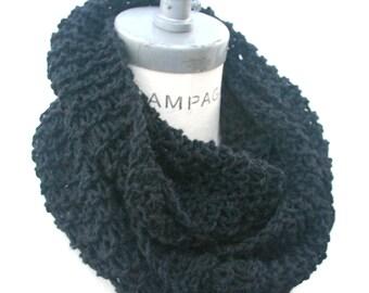 Knit Scarf Black Scarf for Men Hand Knit Scarf  Infinity Scarf Knit Neckwarmer- By  PIYOYO
