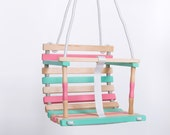 Baby Swing | Wooden Baby Swing | Pastel Baby Swing | Wooden Swing for Baby | Pastel Colors