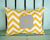 """12"""" X 16"""" yellow white gray chevron applique initial monogram- nursery -Decorative pillow cover-gifts under 30-throw pillow-accent pillow"""
