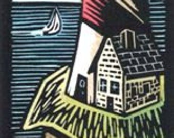 Original Linocut of Lighthouse and Sailboat by Ken swasnon (1234)