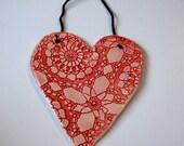 Handmade Red Ceramic Hanging Heart
