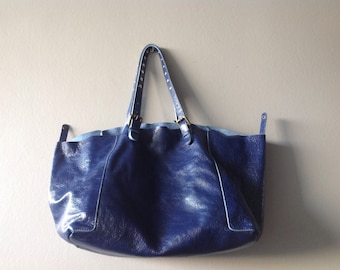 Glossy Blue Leather Gerard Darel Tote bag, vintage