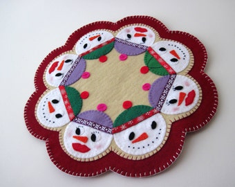 PDF PATTERN: Snowmen Penny Rug Wool Applique sewing tutorial Snow Couples felt candle mat pattern DIY Holiday Decoration Christmas Accessory