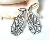 Silver Drop Earrings, Large Teardrop Earrings, Silver Dangle Earrings, Drop Earrings, Sterling Silver Jewelry Gift for Her