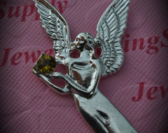 Huge Genuine Silver Plated Swarovski Crystal Angel Pendant In Lime Xilion