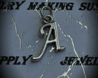 Letter A Sterling Silver Plated Charm