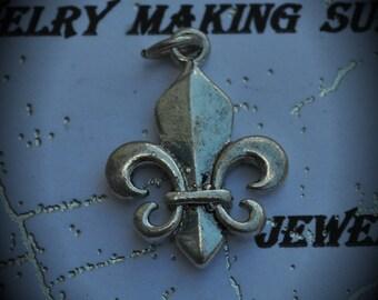 Fleur De Lis Sterling Silver Plated Charm