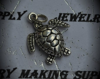 Sea Turtle Sterling Silver Plated Charm