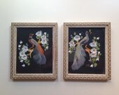 Bird of Paradise and Peacock vintage paintings (set)