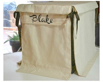 """REVERSIBLE PERSONALIZED Ticking Stripe Crate Cover … """"Lazybones"""" with Name"""