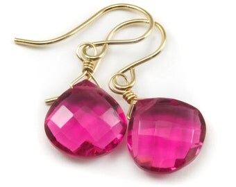 Hot Sapphire Pink Earrings Faceted Quartz Large Hearts Dangle 14k Gold Filled or Sterling Silver Simple Lightweight Fuchsia Magenta  Drops