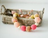 Carambole Nursing Necklace - Pink, Peach -Breastfeeding Necklace for moms to wear, Teething Jewelry, Wood Baby Teether - FrejaToys