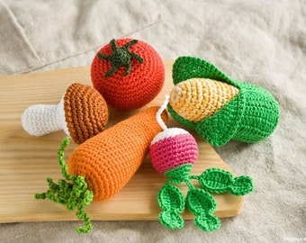 Crochet Baby Rattles Veggies, Set of 5 - mushroom, corn, radish, tomato, carrot - eco friendly crochet toys