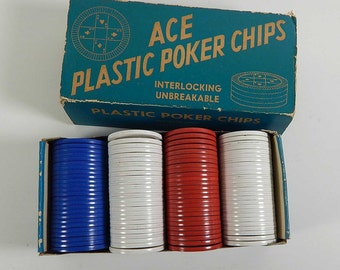 Vintage Ace Plastic Poker Chips Red White Blue Full Box 1950's or 1960's Casino