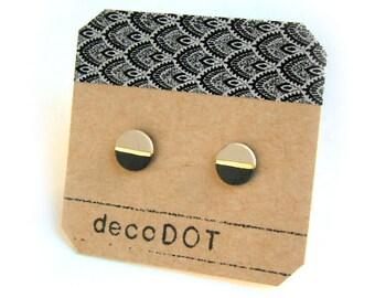 Porcelain dot stud earrings-pastel sand, black, gold small geometric post earrings, porcelain studs, small dot studs, gift for her