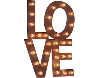 Big Old Vintage Style Marquee LOVE EAT BAR Yum.......Wedding, Engagement, Home, Anniversary, Heart