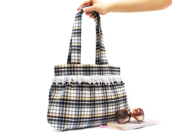 Plaid tote shoulder bag, Cotton Purse, Black Brown, Vintage Style bag, Lace bag, Soft cotton, Hobo Bohemian bag, Bag for mom