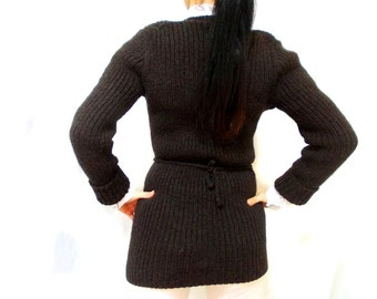 Personalized Knitted Cardigan, CHOOSE your COLOR, Long Brown Cardigan, Fashion Stylish, Knitting long cardigan, Knit Medium sweater