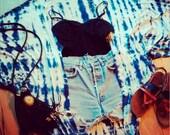 Indigo Shibori Tie Dye Kimono Coverups Swimsuit Cocoon Boho festival coachella