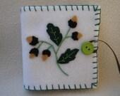 White Acorn Whimsical Embroidered Felt Needle/Pin Case