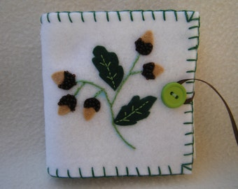 White Acorn Whimsical Embroidered Felt Needle/Pin Case