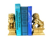 foo dogs, bookends, metallic gold, asian home decor, bookend, chinese dogs