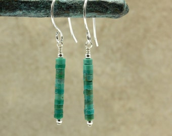 Turquoise Heishi Earrings with Sterling Silver, Southwestern Earrings, Southwestern Jewelry, Turquoise Earrings