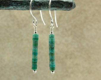 Turquoise Heishi Earrings with Sterling Silver, Southwestern Earrings, Southwestern Jewelry, Turquoise Earrings