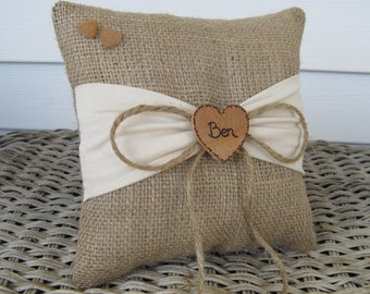 Personalized Rustic Burlap Ring Bearer Pillow With Ivory Sash for your Woodland Wedding