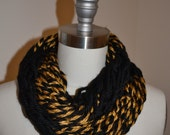 Chunky Knit Double Infinity Scarf- Boilermaker Black&Yellow