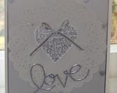 Romantic Wedding Card, Anniversary or Valentine's Card