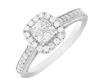 GIA Pave Style Diamond Engagement Ring 1.80 CTW 18k W/G Cushion & Round Cut