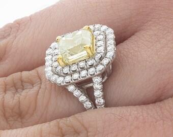 Ladies Natural Fancy Yellow Radiant Cut Diamond Anniversary Ring 18k 4.01 Carat