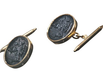 Onyx Cufflinks Saint George The Dragon Gold Plated Sterling Silver 925