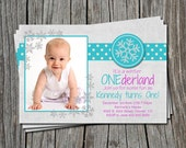 Snowflake Winter Wonderland Onederland 1st One Birthday Party Invitation Card   - Any Color